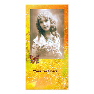 BUTTERFLY IN SPARKLES bright red orange yellow Customised Photo Card