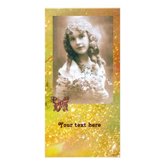 BUTTERFLY IN SPARKLES bright red orange yellow Customized Photo Card