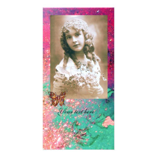 BUTTERFLY IN SPARKLES bright red ,pink green Personalised Photo Card