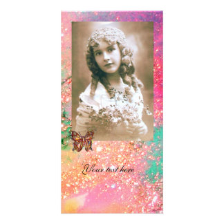 BUTTERFLY IN SPARKLES bright red ,pink green Photo Cards