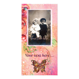 BUTTERFLY IN SPARKLES CUSTOM PHOTO CARD