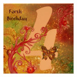 BUTTERFLY IN SPARKLES Forth Birthday Party gold Personalised Invite