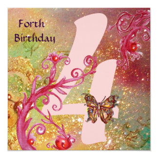 BUTTERFLY IN SPARKLES Forth Birthday Party, pink Card