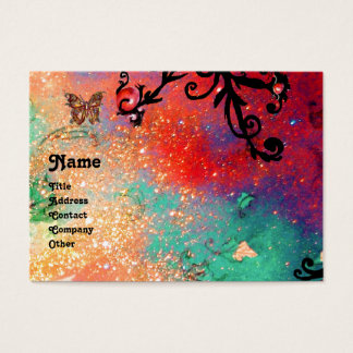 BUTTERFLY IN SPARKLES MONOGRAM,pink red black Business Card