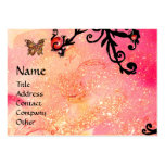 BUTTERFLY IN SPARKLES, PINK,BLACK SWIRLS MONOGRAM BUSINESS CARD TEMPLATE