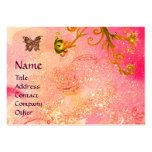 BUTTERFLY IN SPARKLES, PINK,YELLOW SWIRLS MONOGRAM BUSINESS CARDS