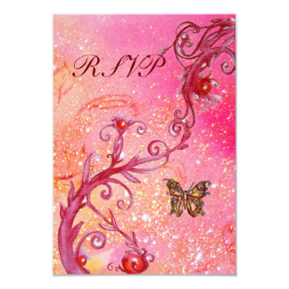 BUTTERFLY IN  SPARKLES RSVP, Elegant Wedding Party Card