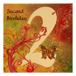 BUTTERFLY IN SPARKLES Second Birthday Party gold Personalised Invitations