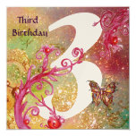 BUTTERFLY IN SPARKLES Third Birthday Party gold 13 Cm X 13 Cm Square Invitation Card