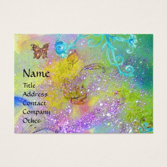 BUTTERFLY IN SPARKLES,VIOLET BLUE SWIRLS MONOGRAM BUSINESS CARD