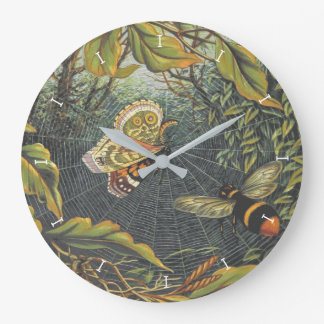 Butterfly in spider web wall clock