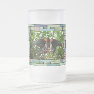 Butterfly in stained glass frame frosted glass beer mug
