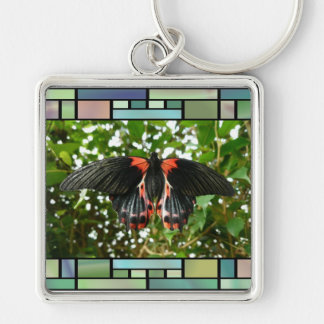 Butterfly in stained glass frame keychain