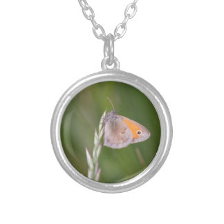 butterfly in the meadow silver plated necklace