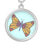 Butterfly in Warm Colours Round Pendant Necklace