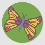 Butterfly in Warm Colours Round Sticker