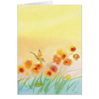 butterfly in wild field greeting card