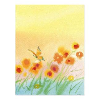 butterfly in wild field post card
