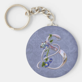 Butterfly Initial S Basic Round Button Key Ring