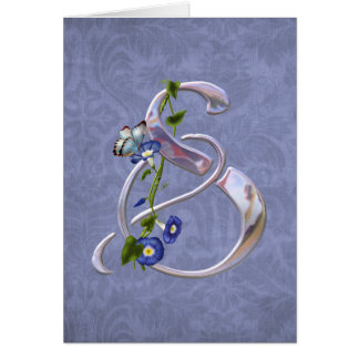 Butterfly Initial S Greeting Card