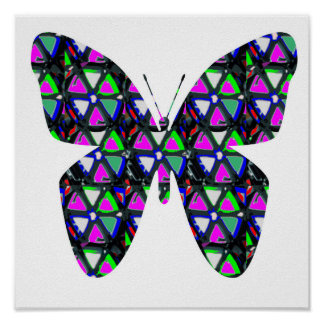 Butterfly insect Sparkle Pink Flower Star Graphic Poster