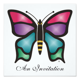 Butterfly 5.25x5.25 Square Paper Invitation Card