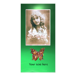 BUTTERFLY JADE GREEN ,red Photo Greeting Card