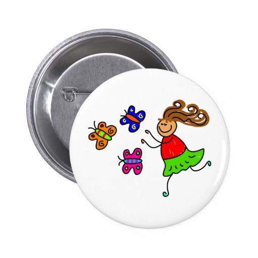 Butterfly Kid Pinback Buttons