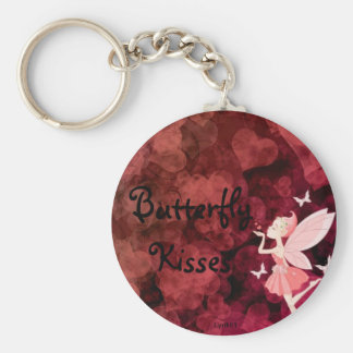 Butterfly kisses basic round button key ring
