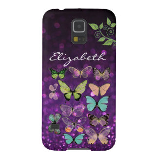 Butterfly Kisses on Purple Galaxy S5 Cases