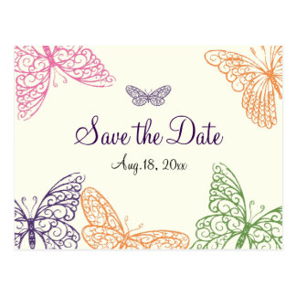 Butterfly Kisses Save the Date ivory Postcard