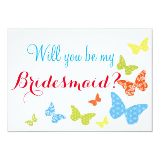 Butterfly Kisses Will You Be My Bridesmaid 13 Cm X 18 Cm Invitation Card