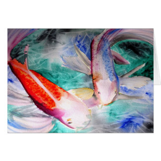 Butterfly Koi watercolour Japanese Fish Art Greeting Cards