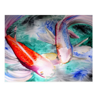 Butterfly Koi watercolour Japanese Fish Art Post Cards