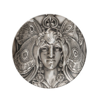 Butterfly Lady Art Nouveau Antique Silver Plate