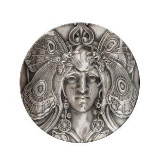Butterfly Lady Art Nouveau Antique Silver Plate Porcelain Plate