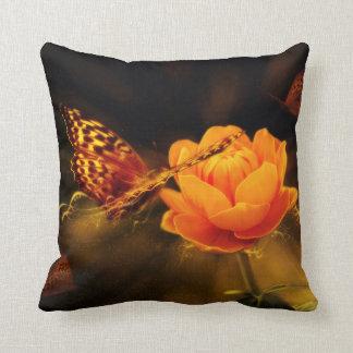 Butterfly Landing on Flower Cushion