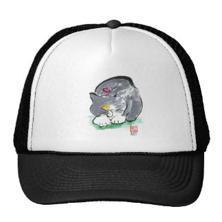 Butterfly Lands on Gray Tuxedo Cat, Sumi-e Hat