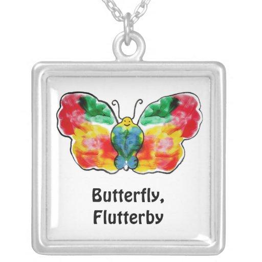 Butterfly - landscape template design square pendant necklace