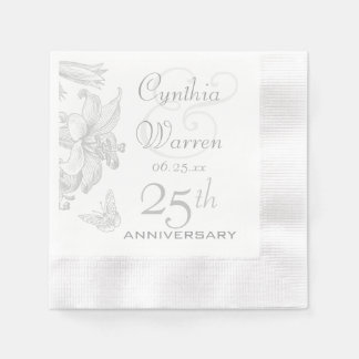 Butterfly Lilies 25th Silver Wedding Anniversary Disposable Serviette