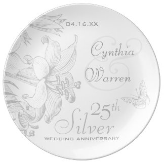 Butterfly Lilies 25th Silver Wedding Anniversary Porcelain Plates