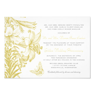 Butterfly Lilies Golden 50th Wedding Anniversary Card