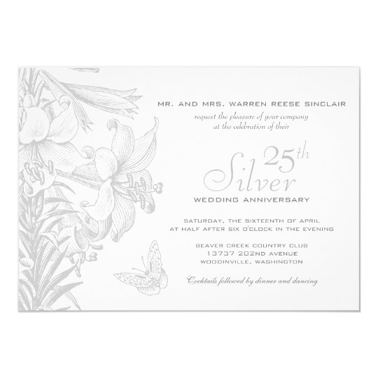 Butterfly Lilies Silver 25th Wedding Anniversary Card