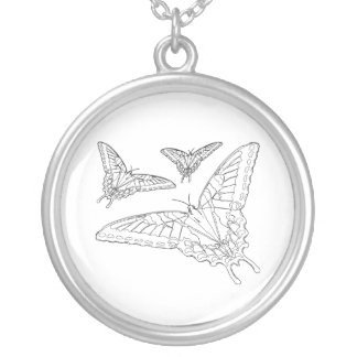 Butterfly Line Drawing Round Pendant Necklace