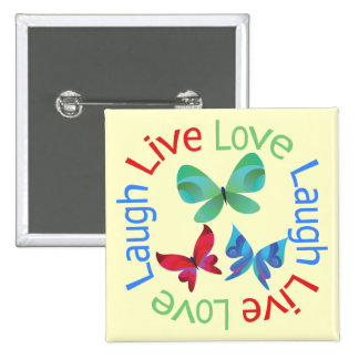 Butterfly - Live Love Laugh 15 Cm Square Badge