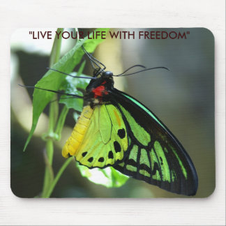 "Butterfly, ""LIVE YOUR LIFE WITH FREEDOM"" Mouse Pad"