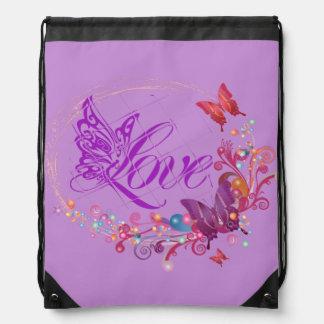 Butterfly love drawstring bag