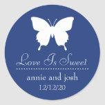 Butterfly Love Is Sweet Labels (Navy Blue) Round Sticker
