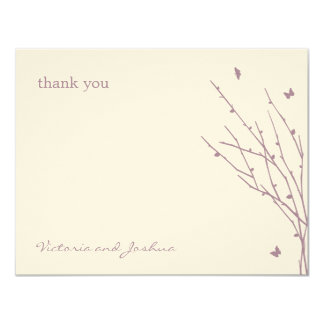 Butterfly Love Wedding Thank You Cards (Purple) 11 Cm X 14 Cm Invitation Card