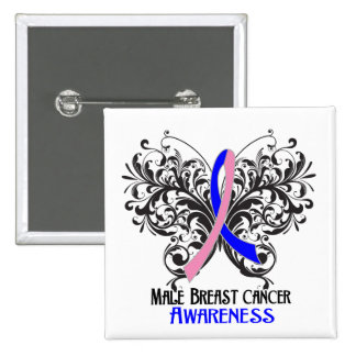 Butterfly Male Breast Cancer Awareness Pinback Buttons